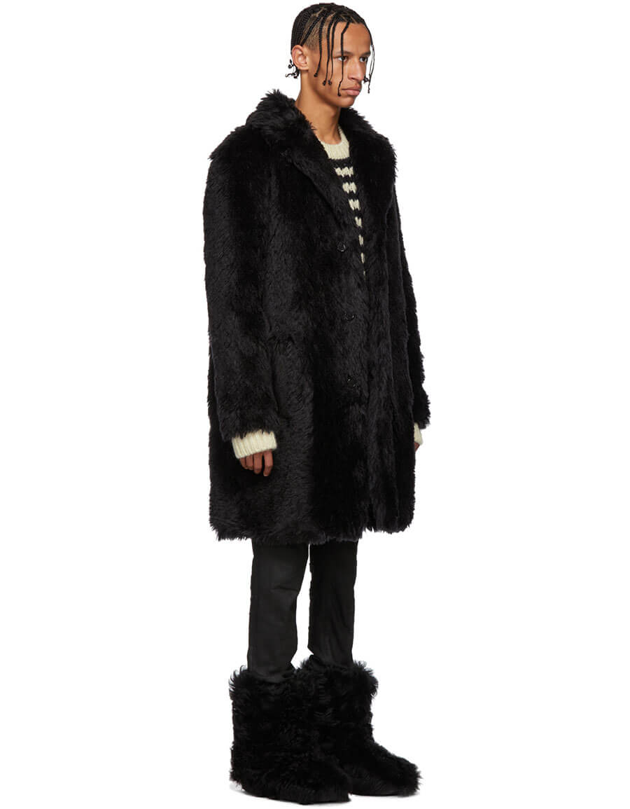 467bc4d1671 SAINT LAURENT Black Faux-Fur Coat · VERGLE