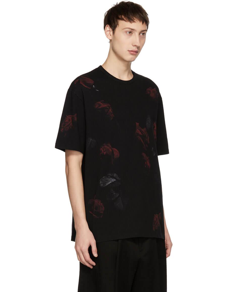 LAD MUSICIAN Black & Red Rose T Shirt