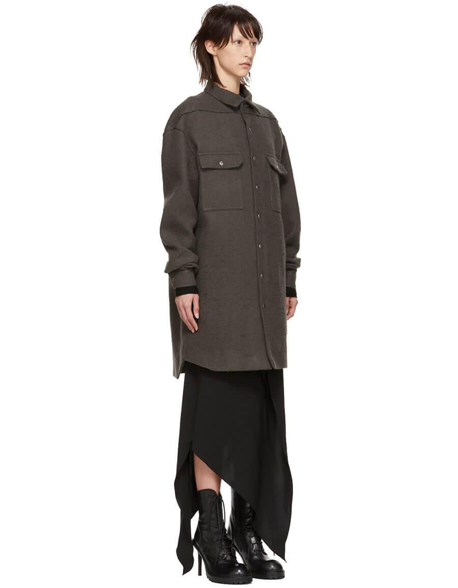 RICK OWENS Grey Oversized Outershirt Jacket