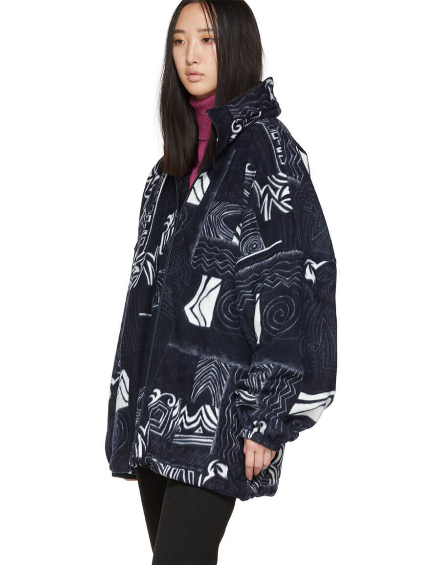 BALENCIAGA White & Navy Oversized Abstract Spiral Zip Up Sweater