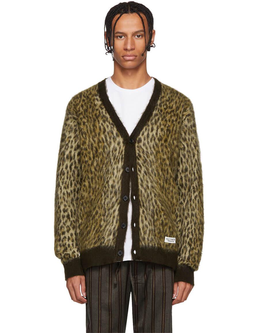 WACKO MARIA Brown Leopard Jacquard Cardigan