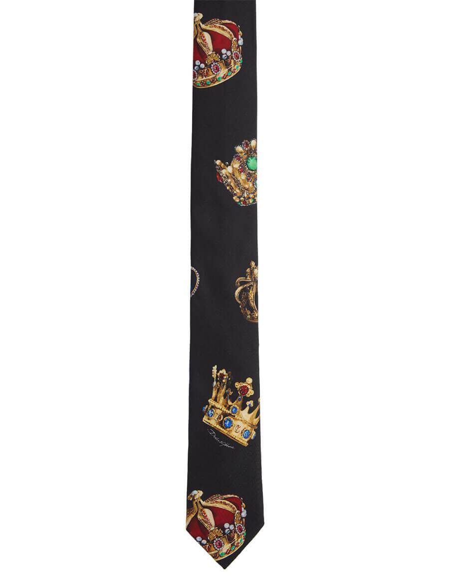 DOLCE & GABBANA Black Silk Crown Tie