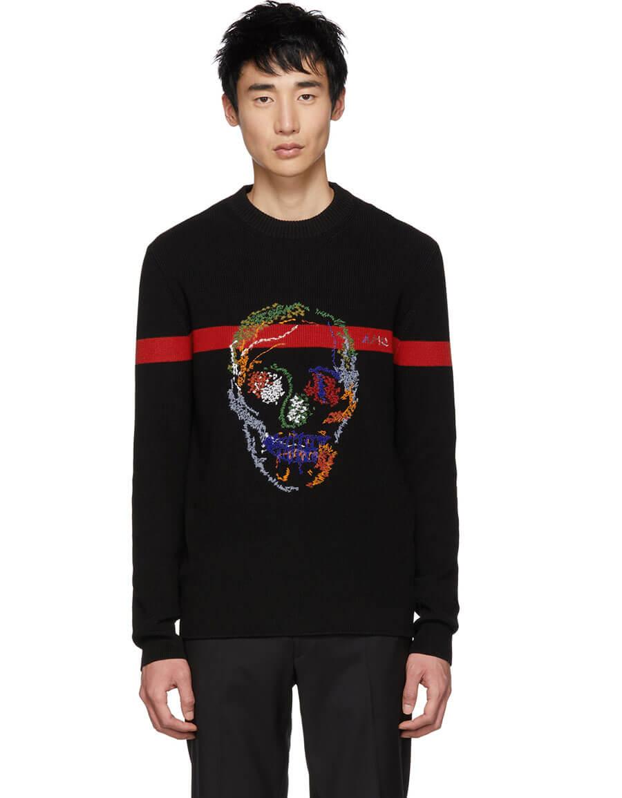 ALEXANDER MCQUEEN Black & Red Skull Sweater