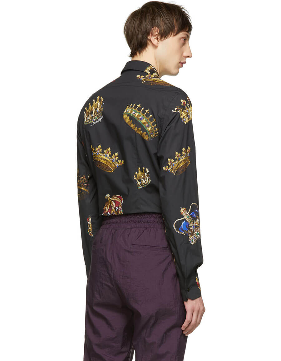DOLCE & GABBANA Black All Over Crowns Shirt