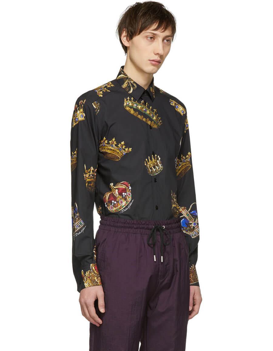 DOLCE & GABBANA Black All Over Crowns Shirt