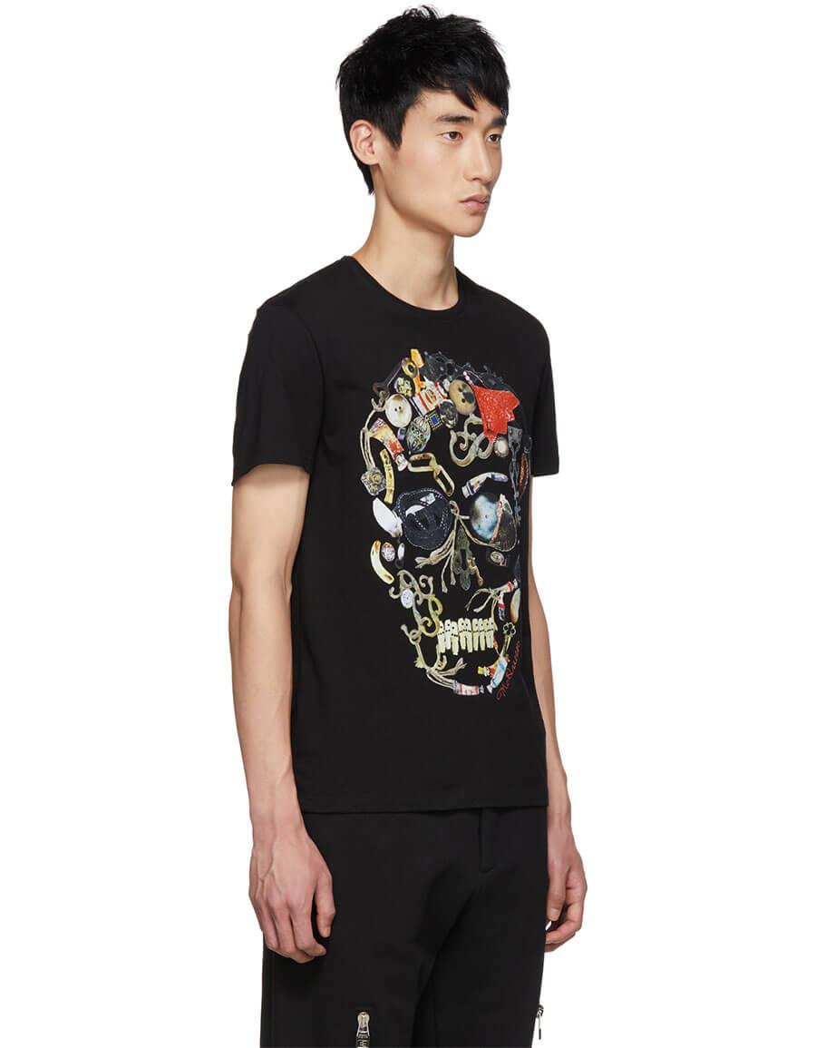 ALEXANDER MCQUEEN Black Mix Graphic T Shirt