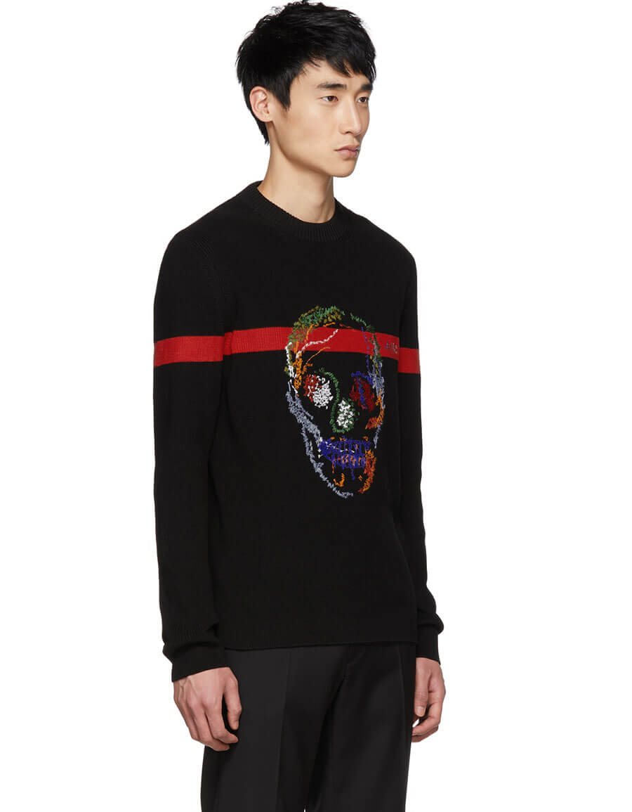 ALEXANDER MCQUEEN Black & Red Skull Sweater