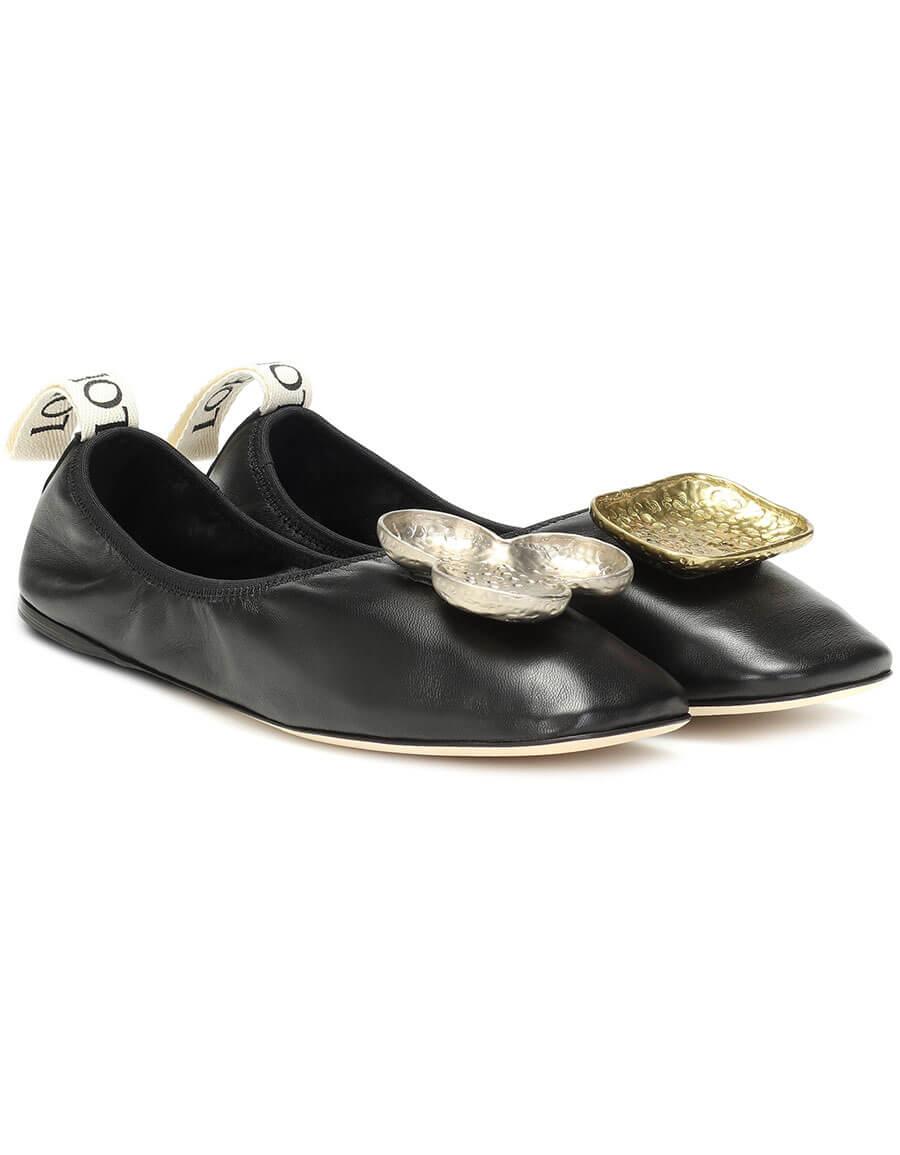 LOEWE Shamrock leather ballet flats