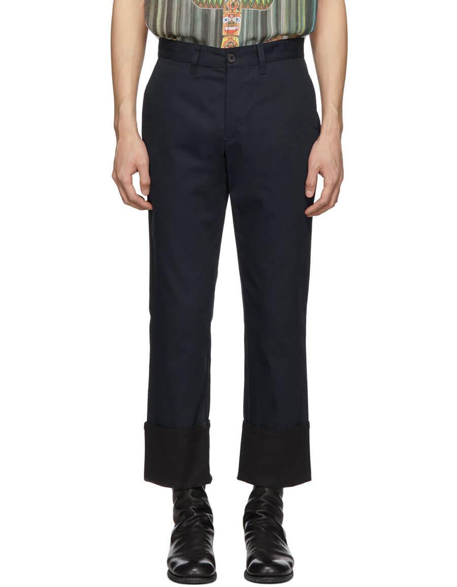 LOEWE Navy Turn Up Chino Trousers