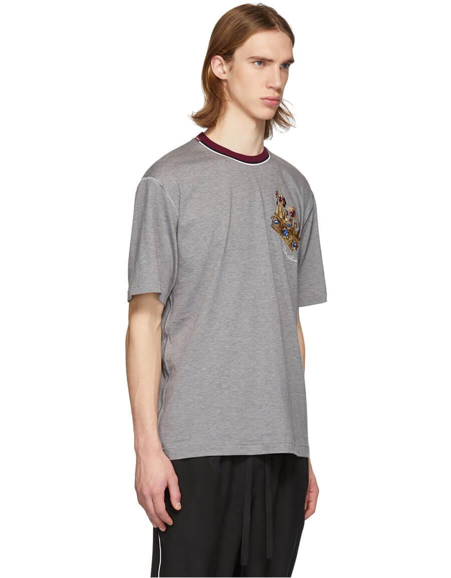 DOLCE & GABBANA Grey Crown T Shirt