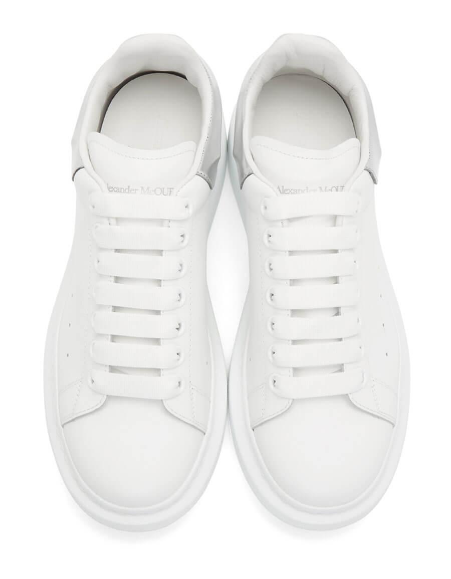 ALEXANDER MCQUEEN White & Silver Oversized Sneakers