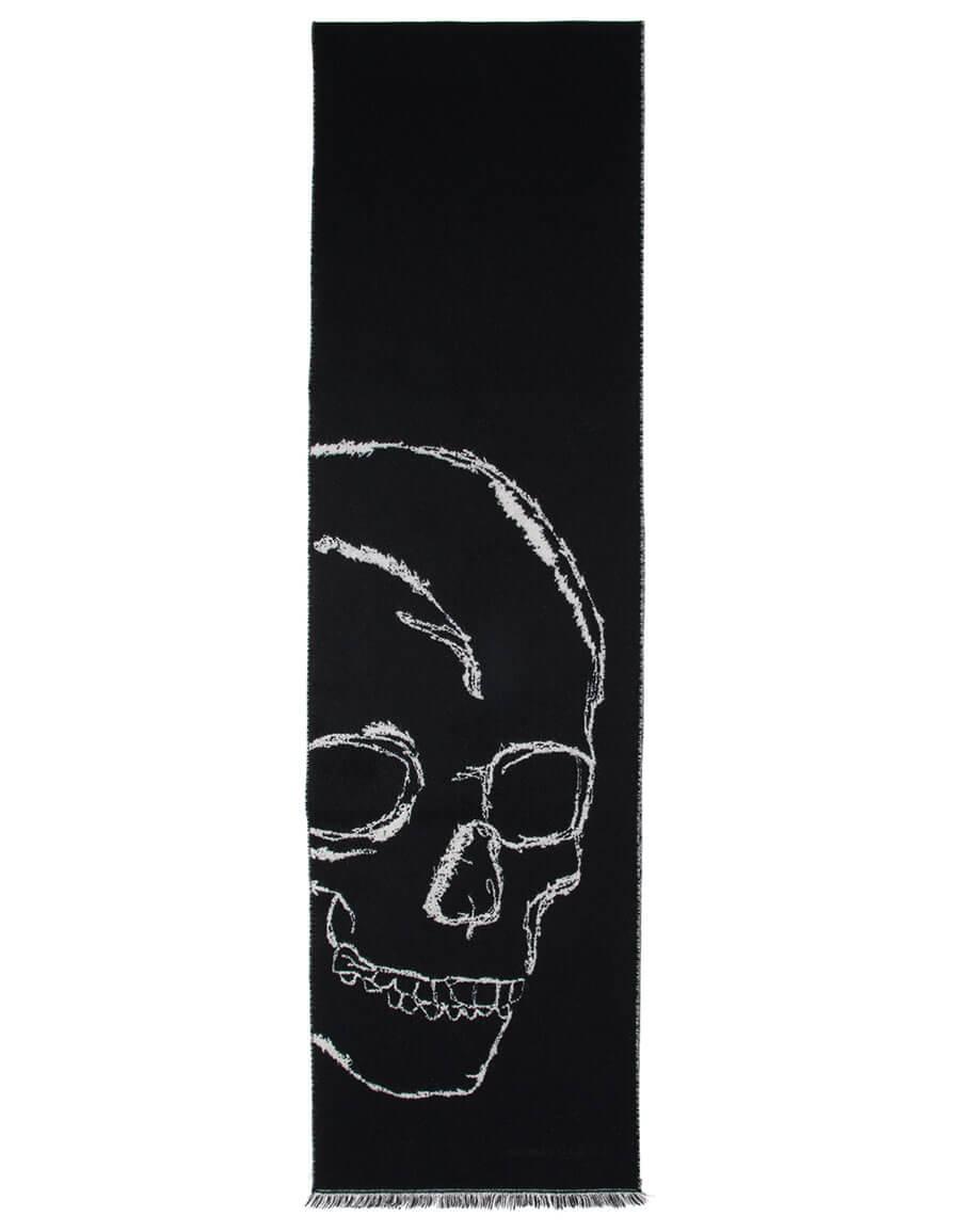 ALEXANDER MCQUEEN Black & Ivory Oversized Skull Scarf