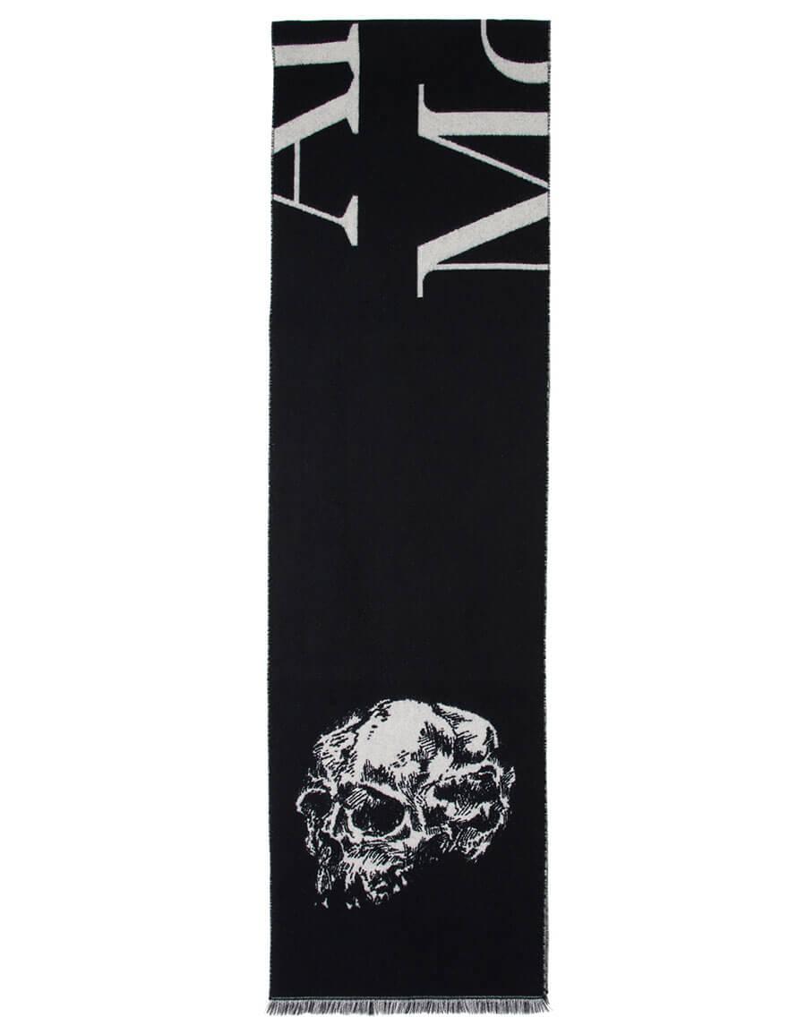 ALEXANDER MCQUEEN Black & Ivory Oversized Logo Skull Scarf