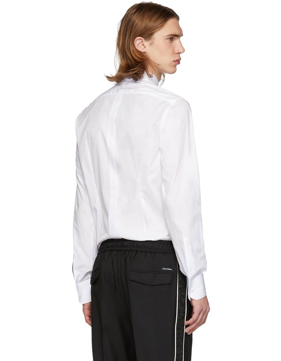 DOLCE & GABBANA White All Over Logo Patch Gold Fit Shirt