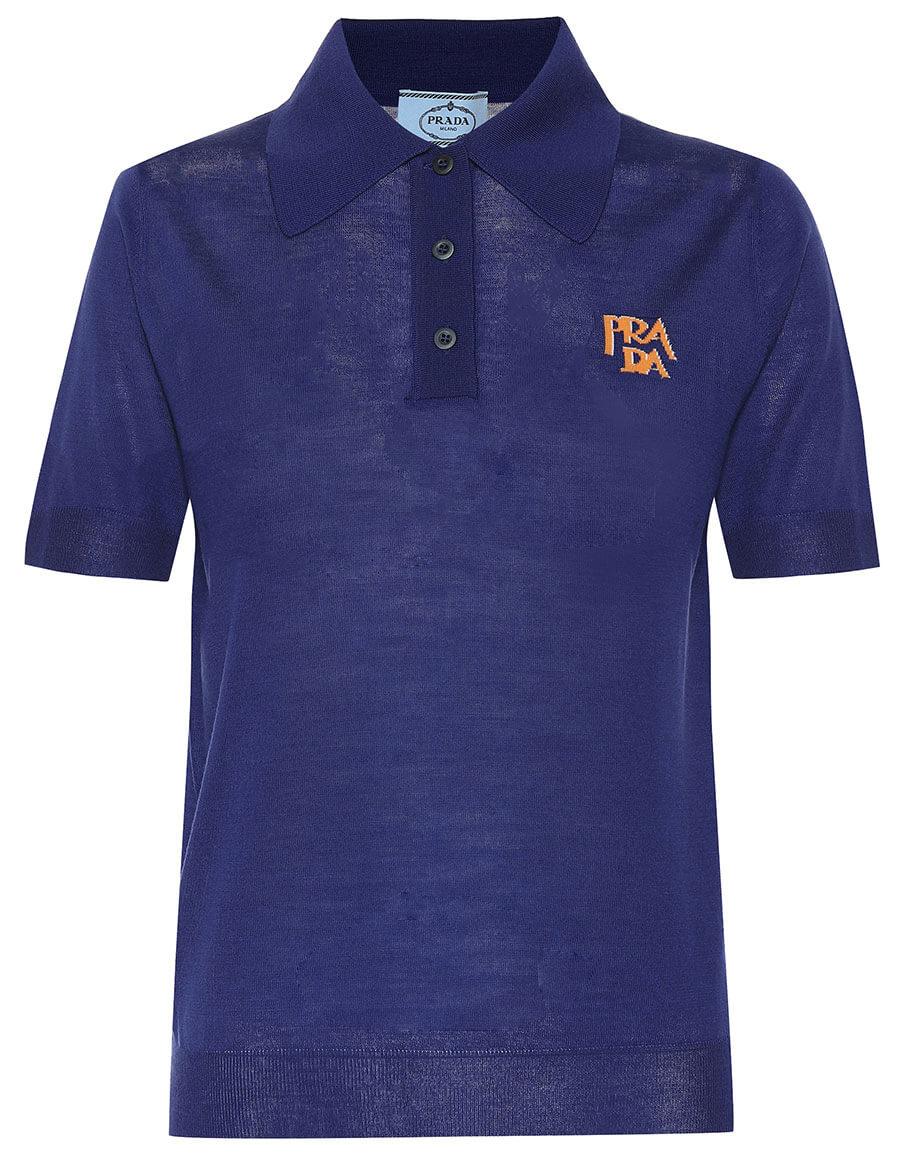 PRADA Logo intarsia wool polo shirt