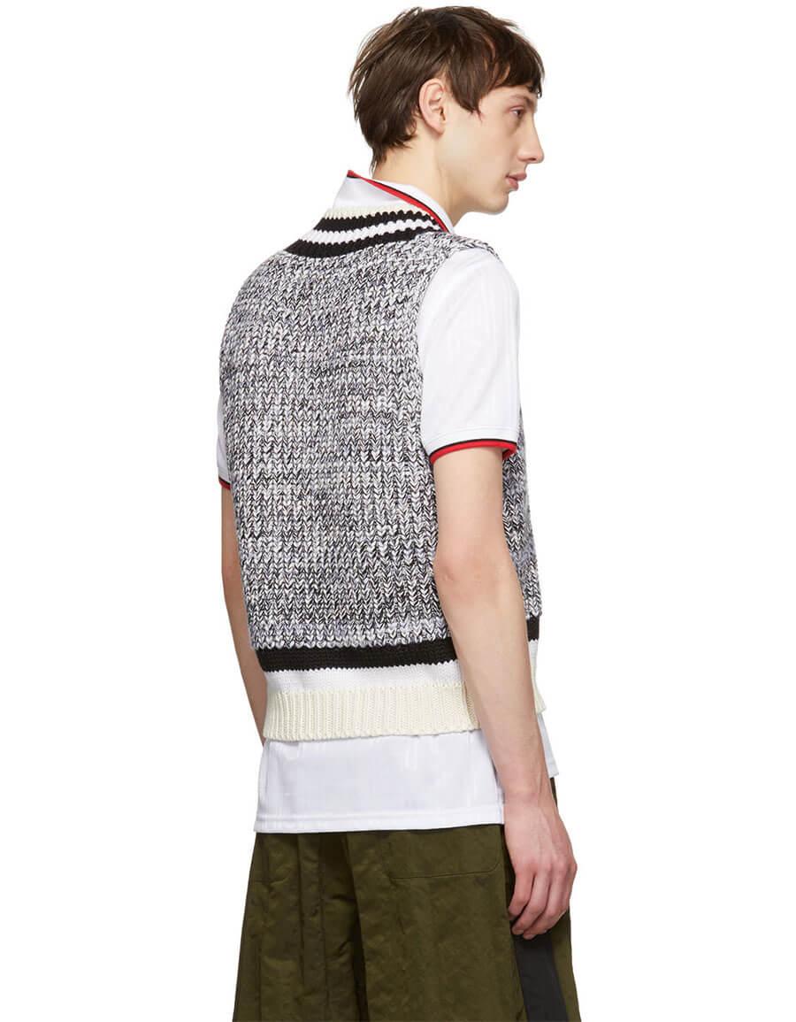 MAISON MARGIELA White & Black Knit V Neck Pullover