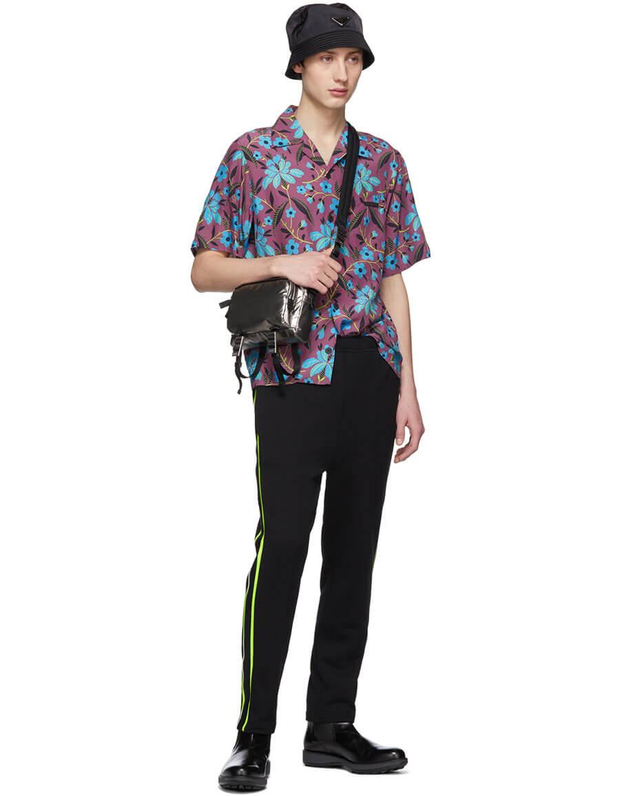 PRADA Black & Green Stripe Lounge Pants