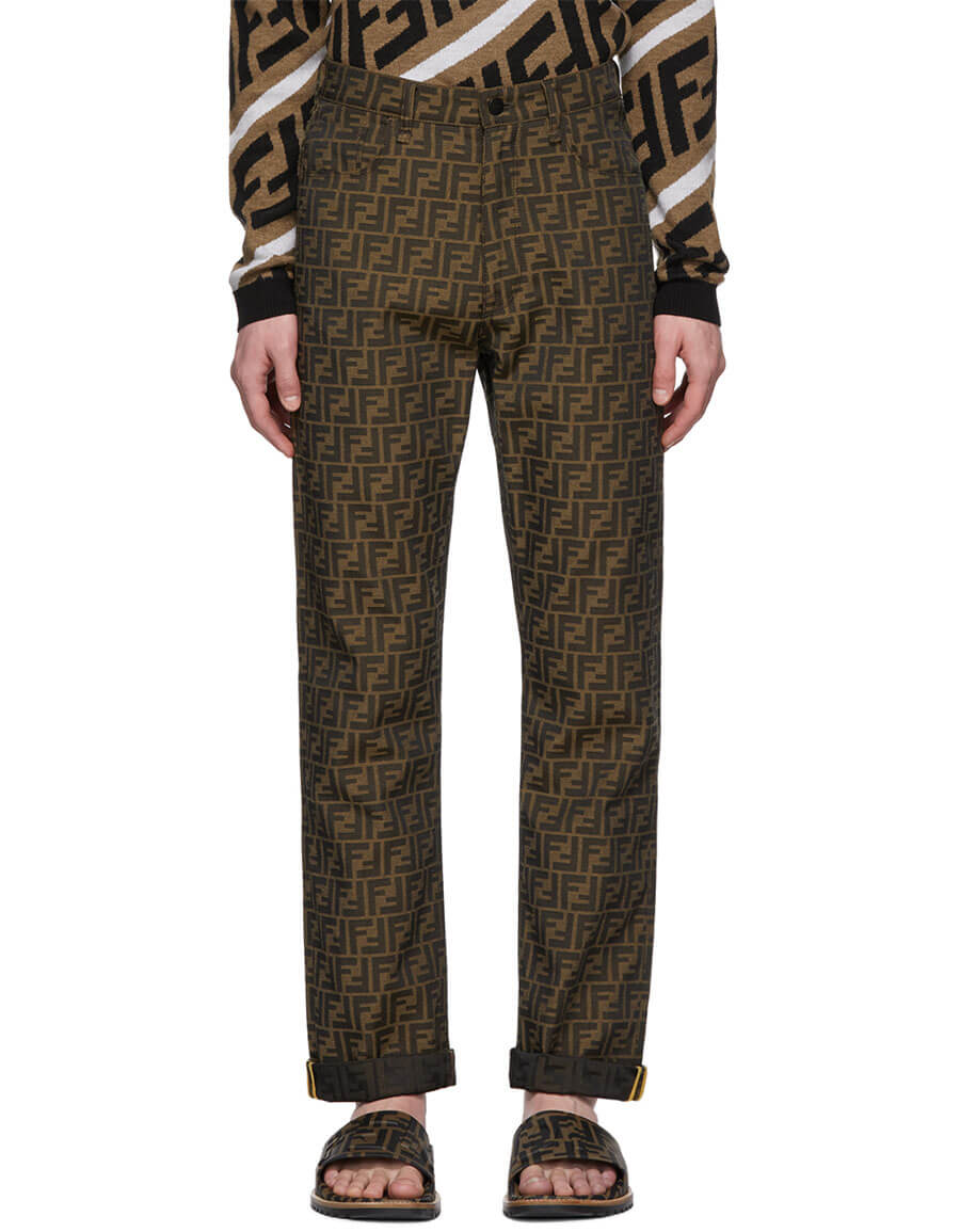 FENDI Brown All Over 'Forever Fendi' Trousers