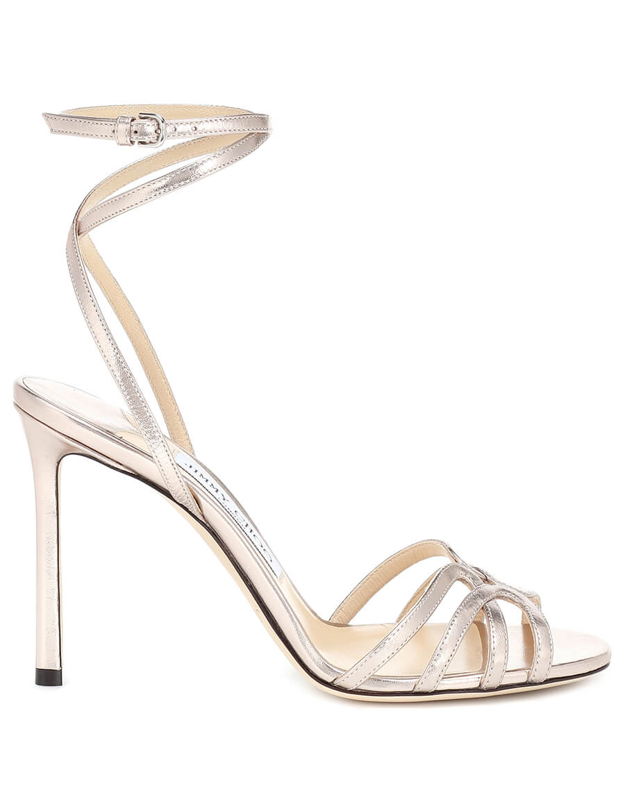 2b11a649e6c JIMMY CHOO Mimi 100 metallic leather sandals · VERGLE