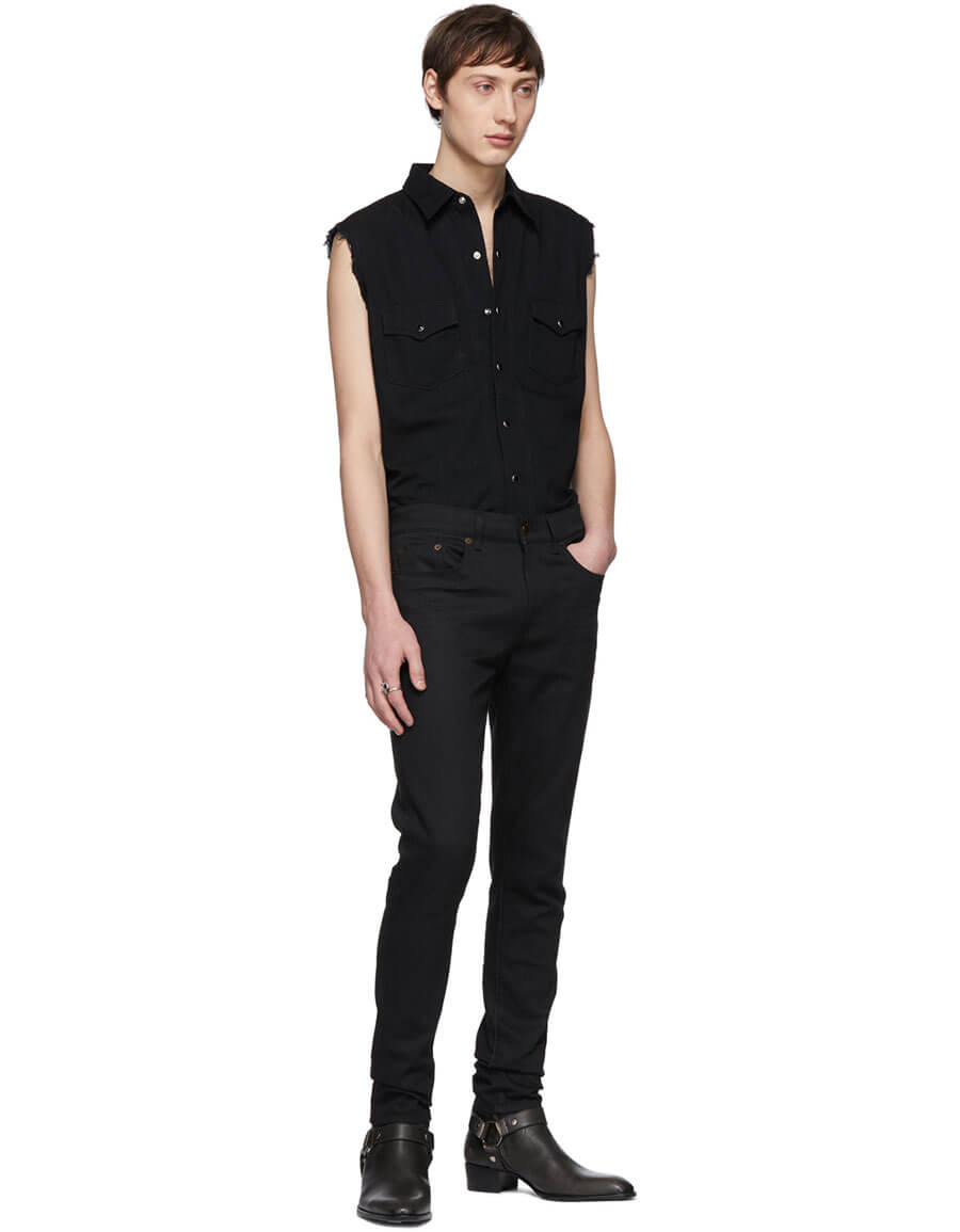 SAINT LAURENT Black Denim Destroyed Sleeveless Shirt