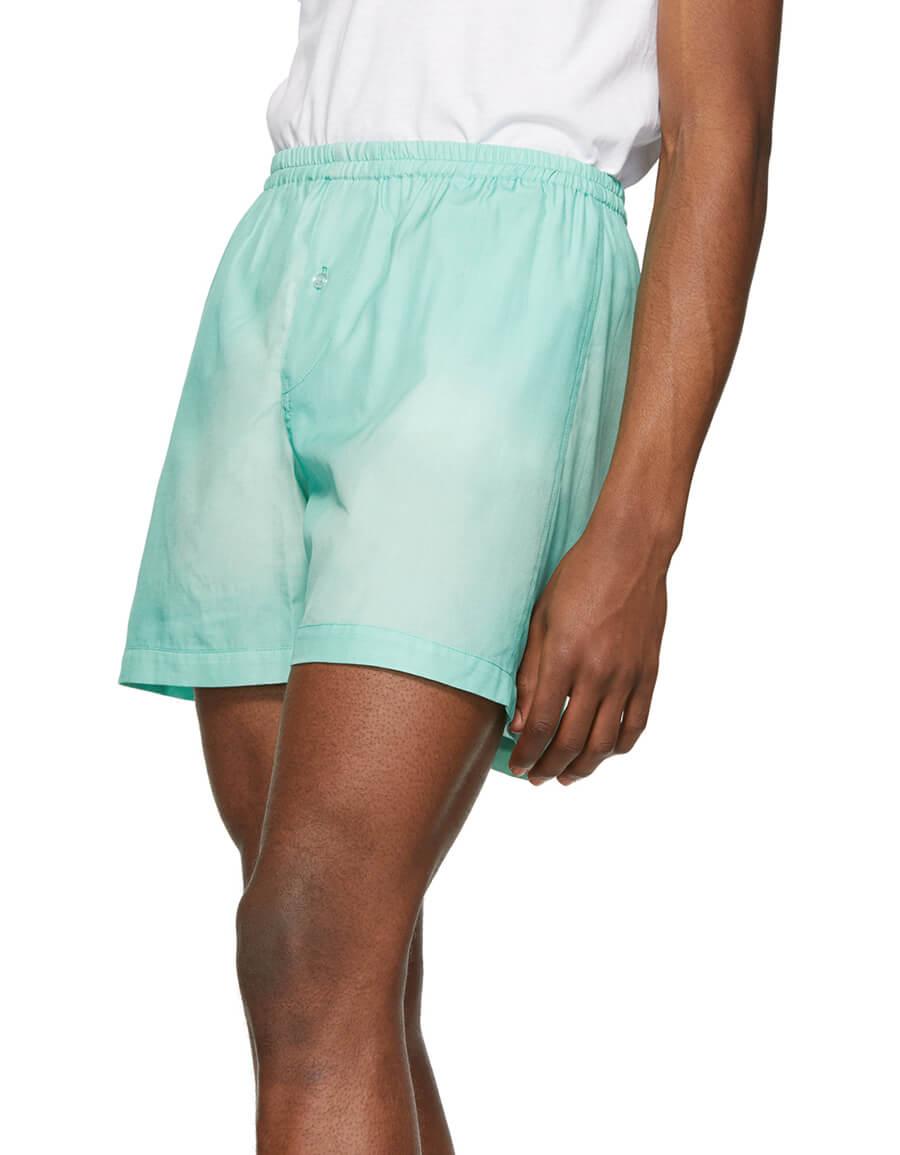 GOODFIGHT Green Silk Basic Shorts