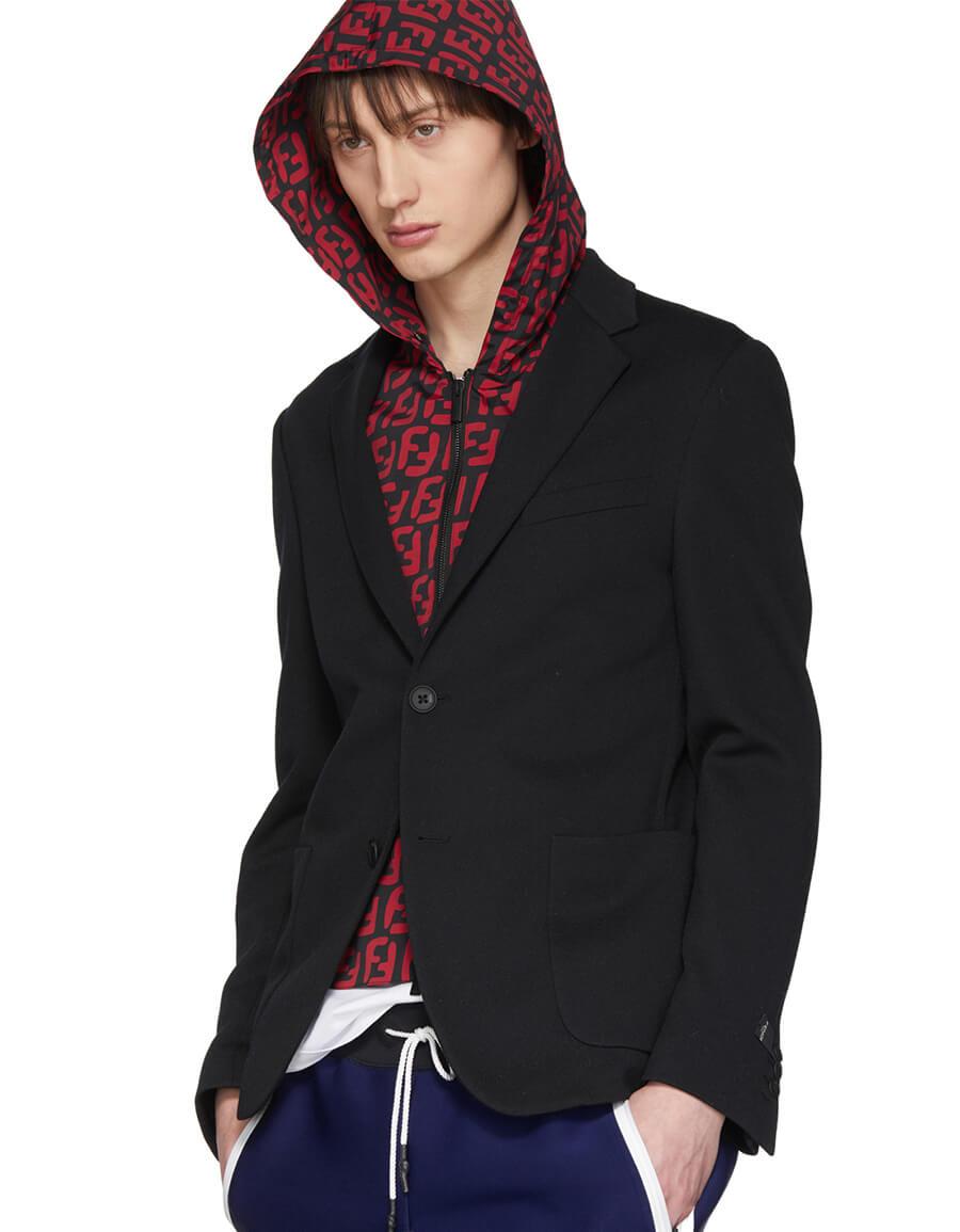 FENDI Black FF Hooded Insert Blazer