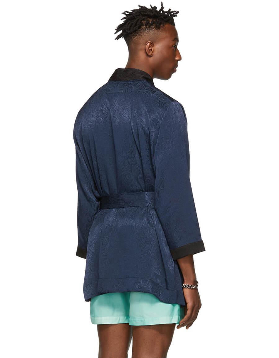 GOODFIGHT Navy Fumado Robe Coat