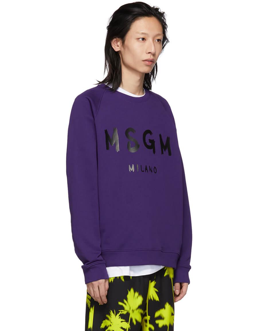 MSGM Purple Artist Logo Sweatshirt