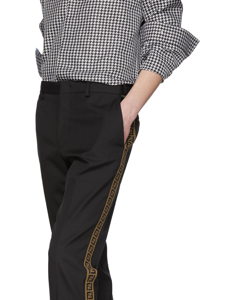 FENDI Black 'Forever Fendi' Side Tape Trousers