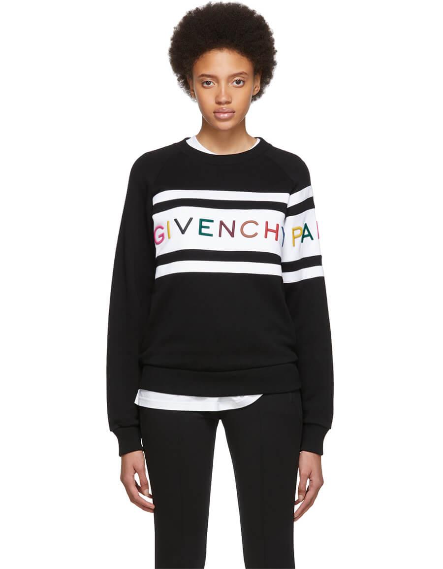 GIVENCHY Black Panelled Logo Sweatshirt