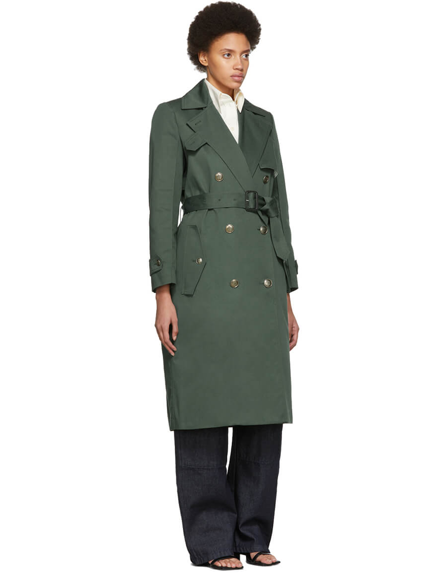 GIVENCHY Green Double Breasted Trench Coat