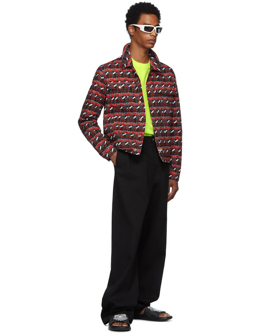KENZO Black & Red Denim Rice Bags Jacket