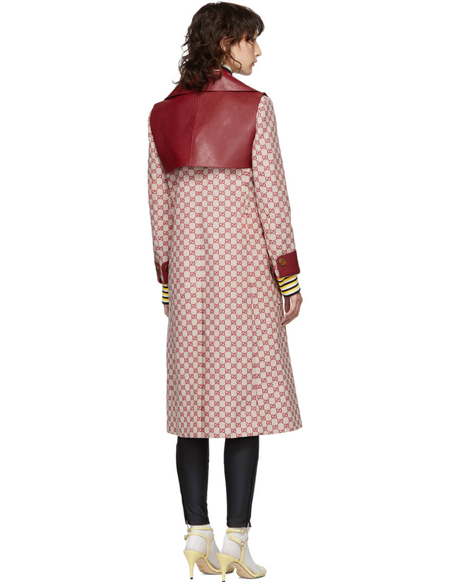 GUCCI Red GG Belted Trench Coat