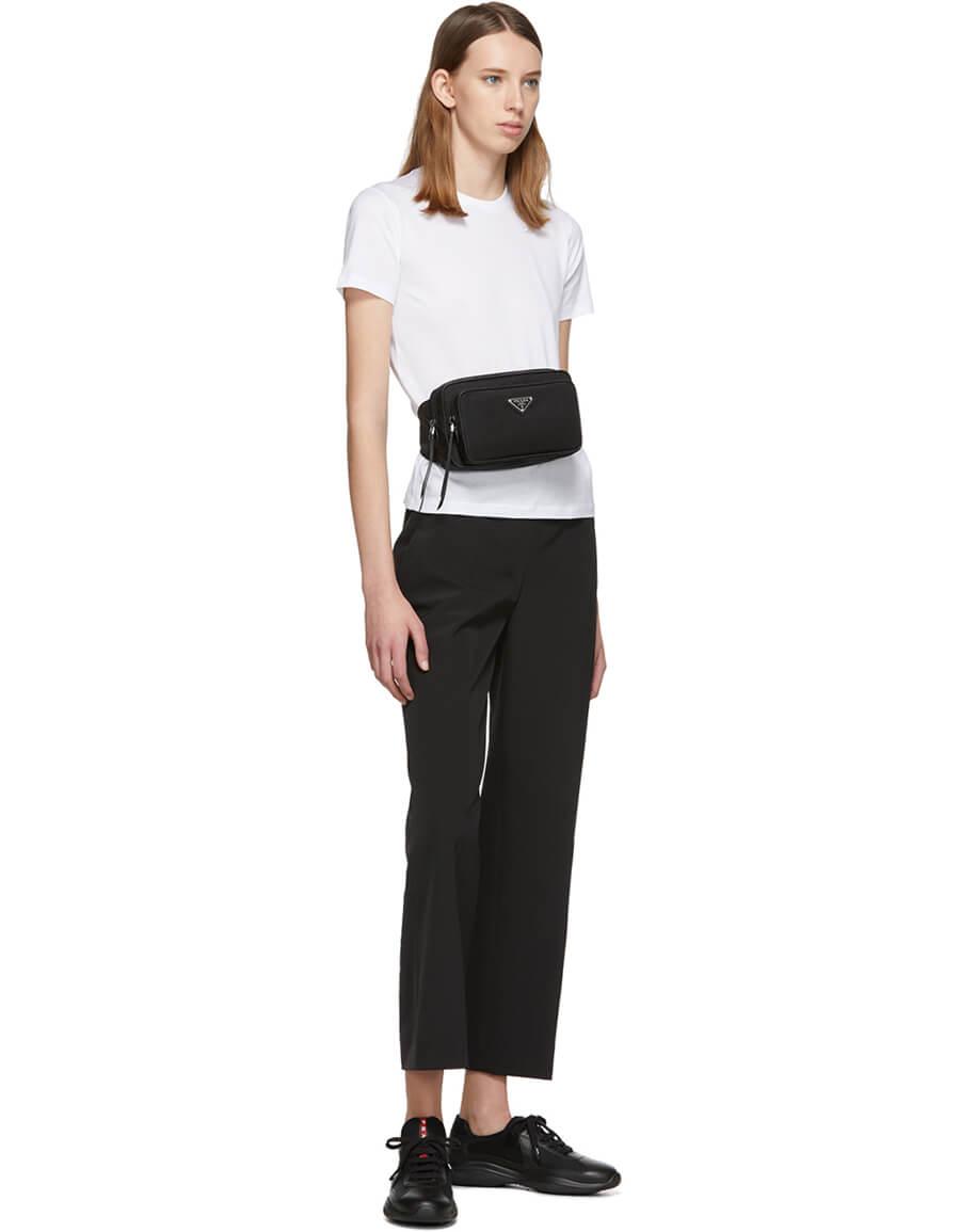 PRADA Black Front Pocket Belt Bag