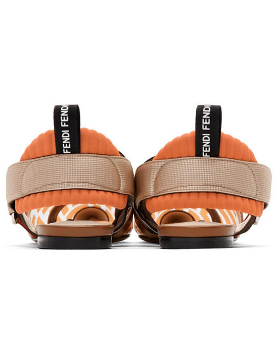 FENDI Brown & Orange PVC Colibrì Flats