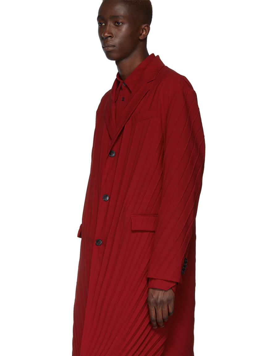 VALENTINO Red Plisse Coat