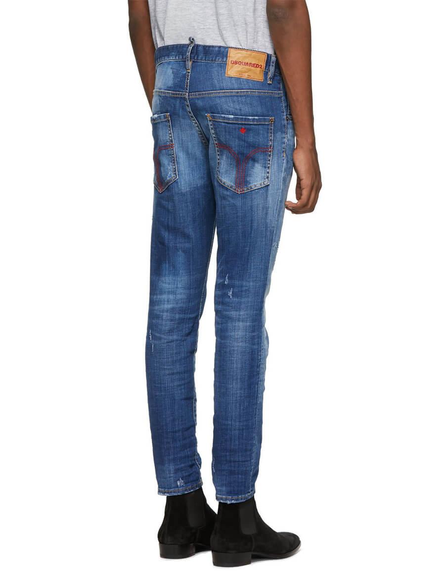 DSQUARED2 Blue Distressed Skater Jeans