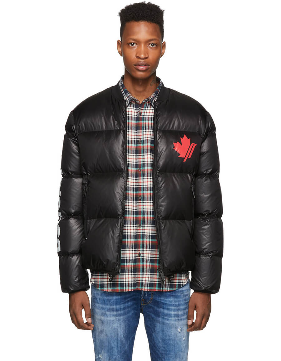DSQUARED2 Black Down Ripstop Sports Jacket