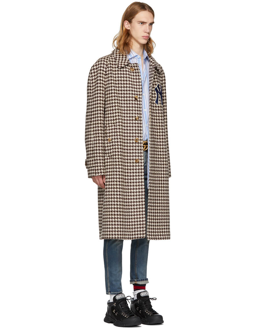 GUCCI Brown NY Yankees Edition Houndstooth Coat