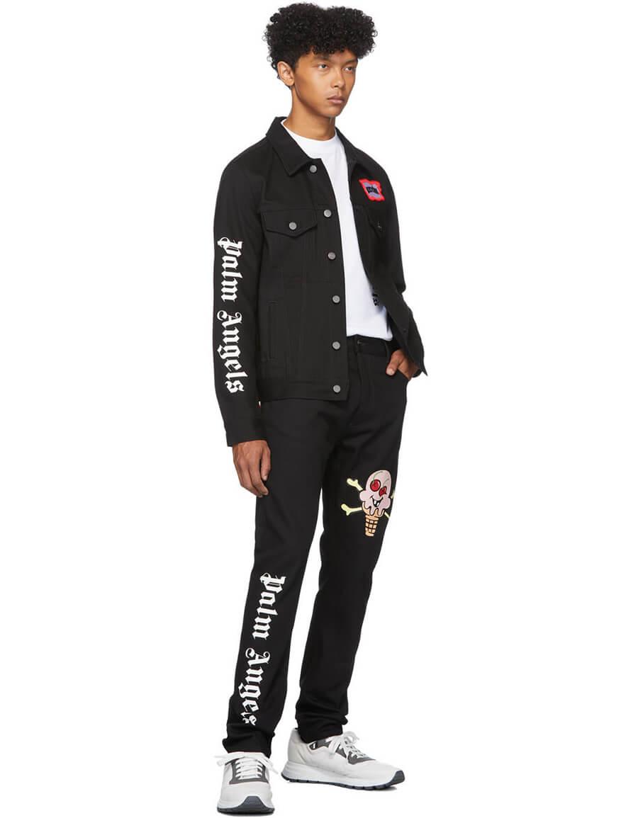 PALM ANGELS Black ICECREAM Edition Denim Jacket