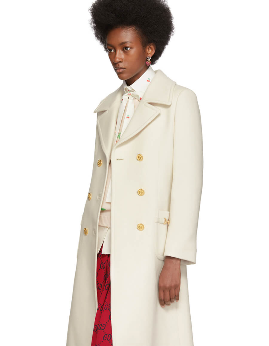 GUCCI Off White Double Breasted Coat