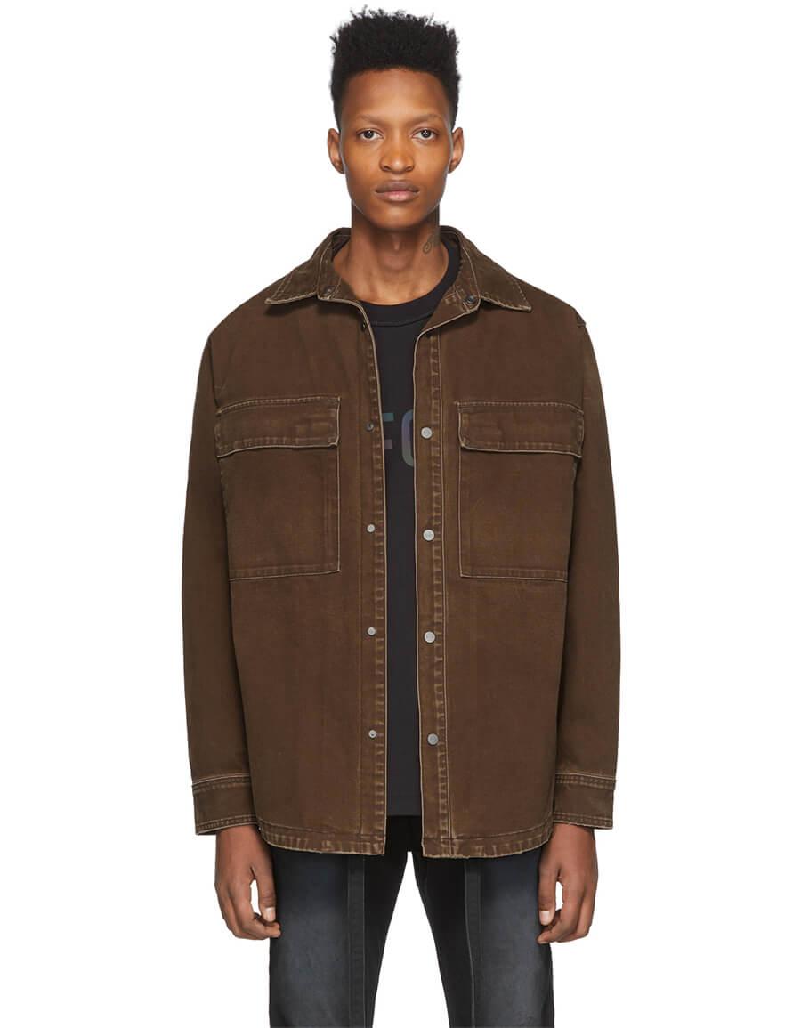 FEAR OF GOD Brown Canvas Shirt Jacket