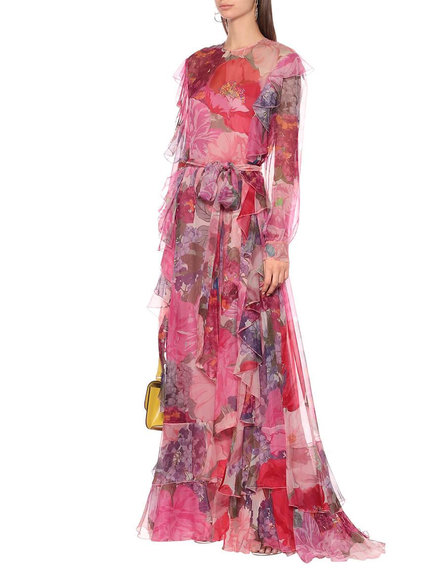 VALENTINO Floral silk chiffon gown
