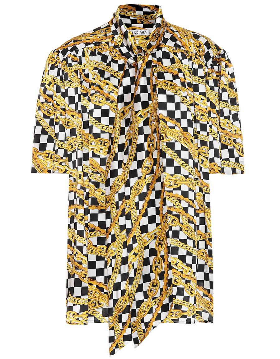 BALENCIAGA Scarf printed silk satin shirt