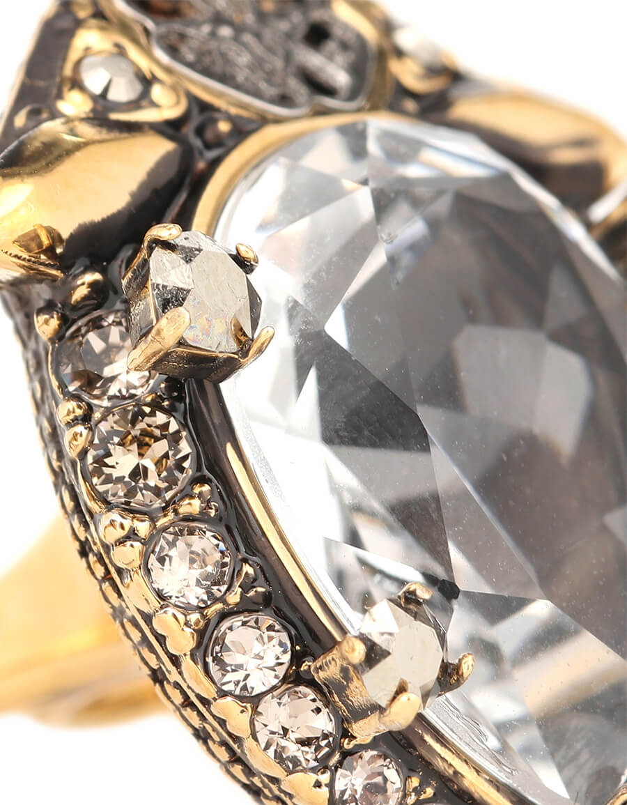 ALEXANDER MCQUEEN Crystal embellished double ring