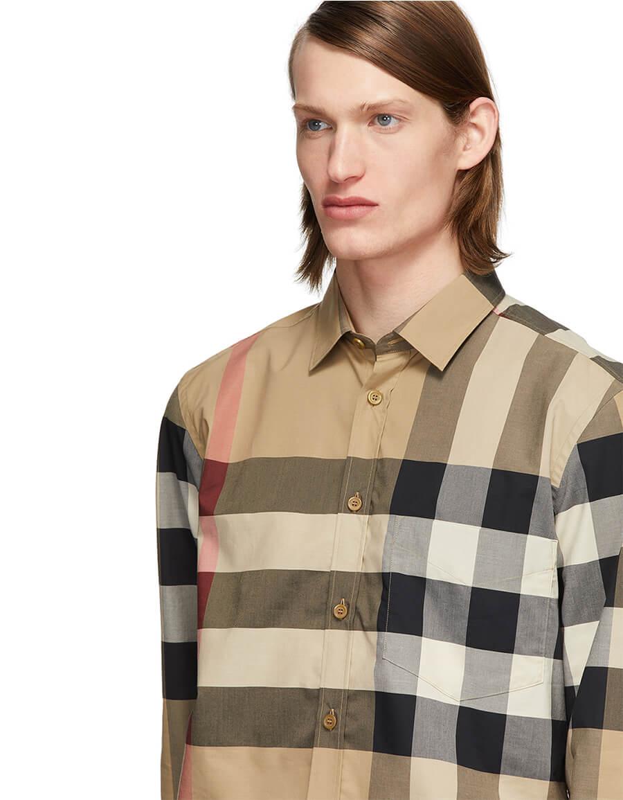 BURBERRY Beige Check Windsor Shirt