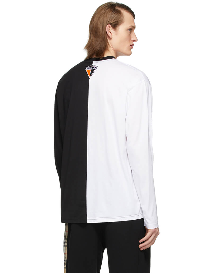 BURBERRY Black & White Montage Cut Out T Shirt
