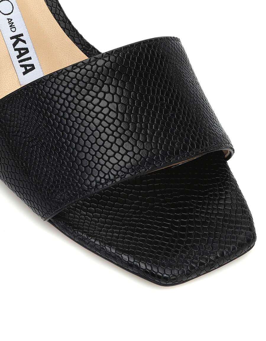 JIMMY CHOO x KAIA K Slide embossed leather sandals