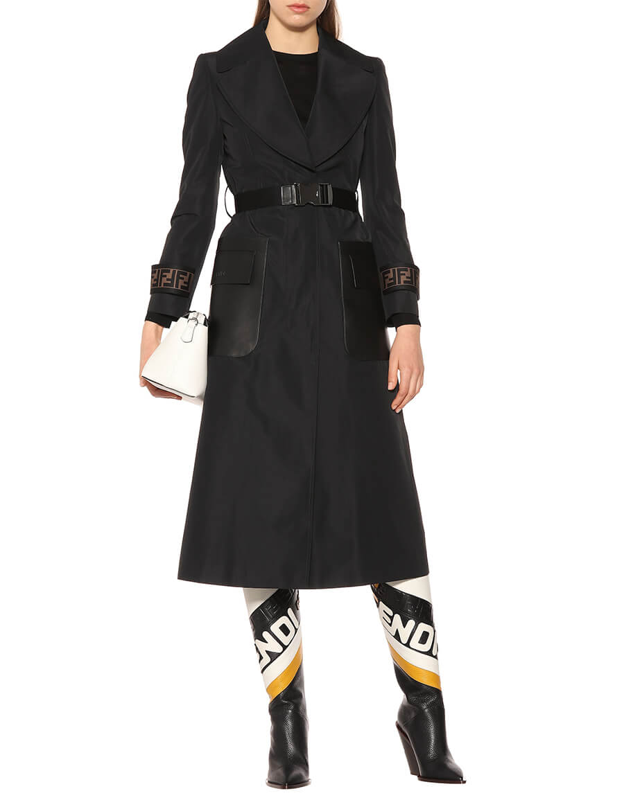 FENDI Leather trimmed faille trench coat