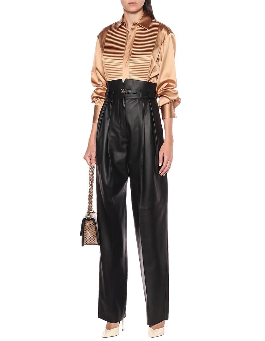 FENDI High rise leather straight pants